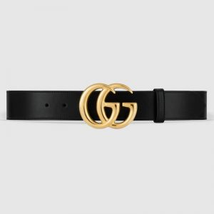 Gucci GG Unisex GG Marmont Leather Belt with Shiny Buckle Black 4 cm Width