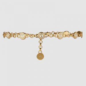Gucci Women Interlocking G Chain Belt Shiny Gold-Toned Metal Double Chain