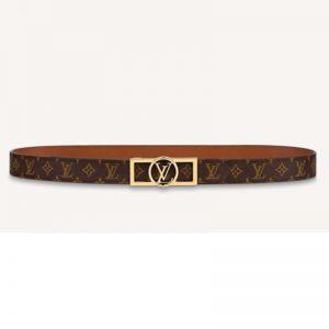 Louis Vuitton Unisex Dauphine 25mm Reversible Belt Monogram Canvas Calf-Brown