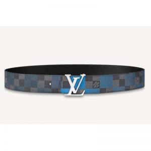 Louis Vuitton Unisex LV Initiales 40 mm Reversible Belt Damier Graphite Canvas Calf-Blue