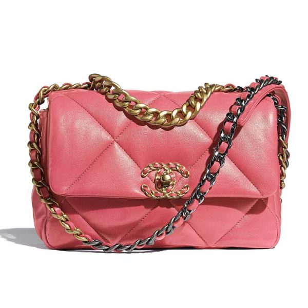 Chanel Women 19 Flap Bag Lambskin Gold Silver-Tone & Ruthenium-Finish Metal Coral