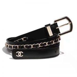 Chanel Women Calfskin & Gold Metal & Belt 3 cm Width-Black