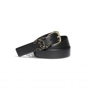 Chanel Women Calfskin & Gold-Tone Metal Black Belt 3 cm Width