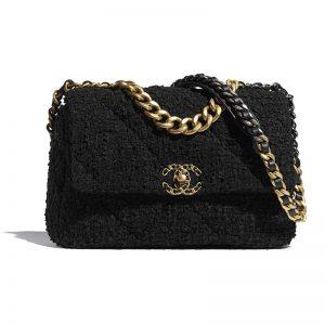 Chanel Women Chanel 19 Large Flap Bag Tweed Gold-Silver-Tone & Ruthenium-Finish Metal Black