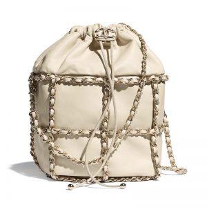 Chanel Women Drawstring Bag Lambskin & Gold Metal Beige