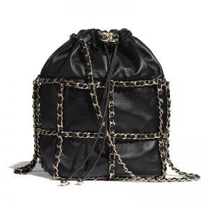 Chanel Women Drawstring Bag Lambskin & Gold Metal Black