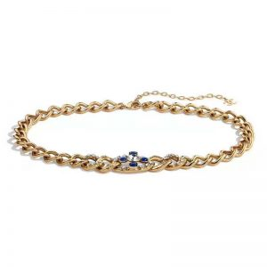Chanel Women Metal & Glass Strass Gold Blue & Crystal Belt