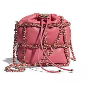 Chanel Women Small Drawstring Bag Lambskin & Gold Metal Coral