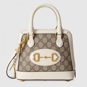 Gucci Women Gucci Horsebit 1955 Mini Top Handle Bag GG Supreme Canvas Leather-White