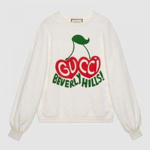 Gucci Men Beverly Hills Cherry Print Sweatshirt Cotton Jersey Crewneck Puff Sleeves-White
