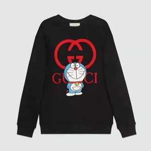 Gucci Men Doraemon x Gucci Cotton Sweatshirt Crewneck Oversized Fit-Black