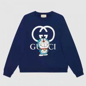 Gucci Men Doraemon x Gucci Cotton Sweatshirt Crewneck Oversized Fit-Navy