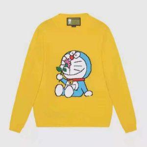 Gucci Men Doraemon x Gucci Wool Sweater Yellow Wool Crewneck