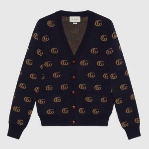 Gucci Men Double G Jacquard Wool Cardigan Front Pockets Blue and Beige