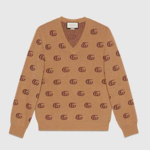 Gucci Men Double G Jacquard Wool V-Neck Sweater Camel and Brown