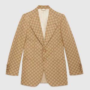Gucci Men GG Canvas Jacket Camel/Ebony GG Cotton Canvas Full Canvas Construction