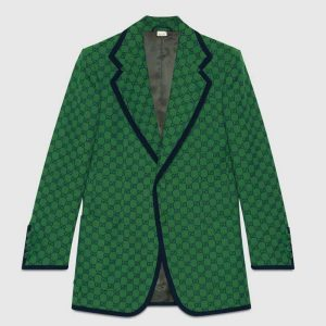 Gucci Men GG Canvas Jacket Green and Blue Organic GG Canvas Cotton
