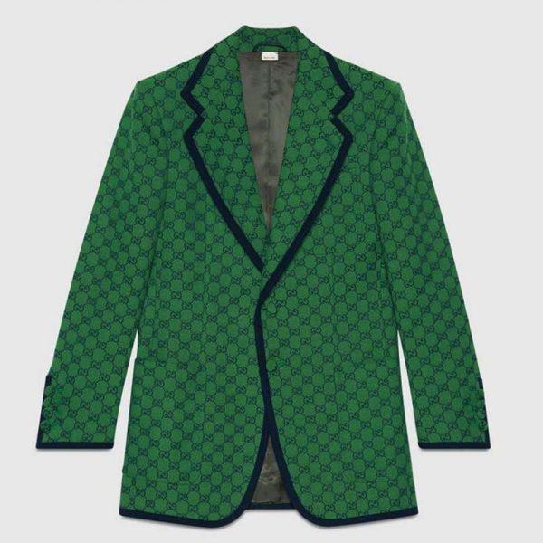 Gucci Men GG Canvas Jacket Green and Blue Organic GG Canvas Cotton
