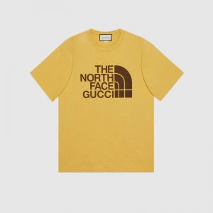Gucci Men The North Face x Gucci Oversize T-Shirt Cotton Jersey Crewneck-Yellow