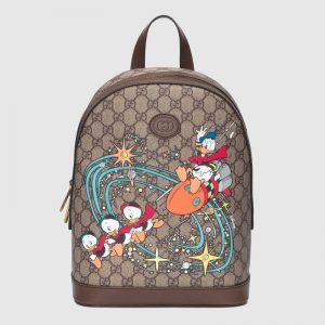 Gucci Unisex Disney x Gucci Donald Duck Small Backpack Leather Interlocking G