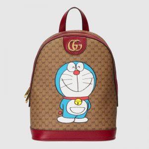 Gucci Unisex Doraemon x Gucci Small Backpack Beige/Ebony Mini GG Supreme Canvas