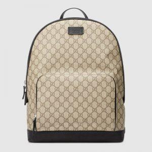 Gucci Unisex GG Supreme Backpack Beige/Ebony GG Supreme Canvas