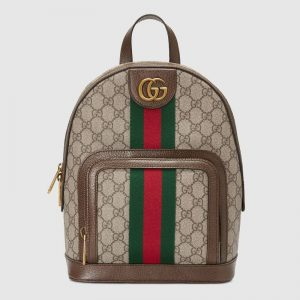 Gucci Unisex Ophidia GG Small Backpack Beige/Ebony GG Supreme Canvas