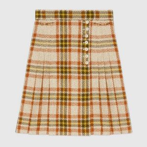 Gucci Women Check Wool Skirt with Horsebits Ivory Brown and Yellow Blend