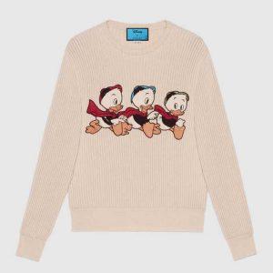 Gucci Women Disney x Gucci Donald Duck Cotton Wool Sweater Crewneck-White