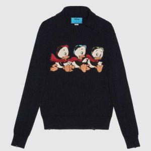 Gucci Women Disney x Gucci Donald Duck Cotton Wool Sweater Holes Crewneck Collar-Navy