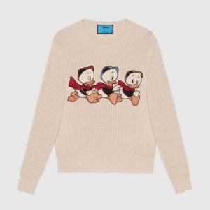 Gucci Women Disney x Gucci Donald Duck Cotton Wool Sweater Holes Crewneck Collar-White