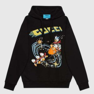 Gucci Women Disney x Gucci Donald Duck Hooded Sweatshirt Fixed Hood Oversize Fit Cotton