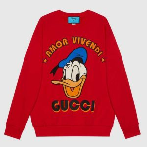 Gucci Women Disney x Gucci Donald Duck Sweatshirt Cotton Crewneck Oversized Fit-Red