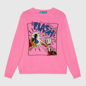Gucci Women Disney x Gucci Donald Duck Wool Sweater Crew Neck-Pink