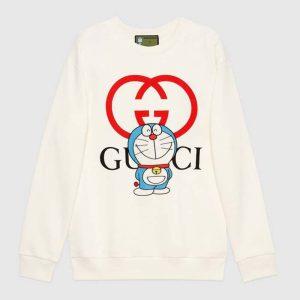 Gucci Women Doraemon x Gucci Cotton Sweatshirt Crewneck Oversized Fit-White