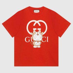 Gucci Women Doraemon x Gucci Oversize T-Shirt Crewneck Red Cotton Jersey
