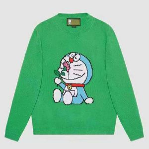 Gucci Women Doraemon x Gucci Wool Sweater Green Wool Crewneck