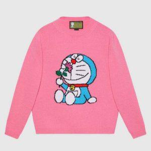Gucci Women Doraemon x Gucci Wool Sweater Pink Wool Crewneck