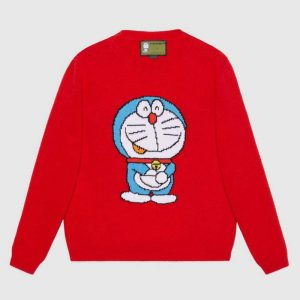 Gucci Women Doraemon x Gucci Wool Sweater Red Wool Crewneck