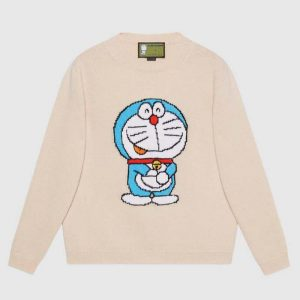 Gucci Women Doraemon x Gucci Wool Sweater White Crewneck