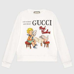 Gucci Women Gucci 'Mad Cookies' Print Sweatshirt Cotton Crewneck Slim Fit-White