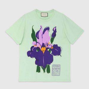 Gucci Women Ken Scott Print Cotton T-Shirt Purple Flower Crewneck Oversize Fit-Lime