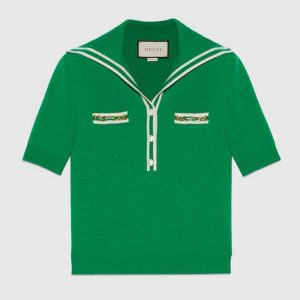 Gucci Women Wool Polo Shirt with Contrast Trim Front Pockets Button-Through Placket