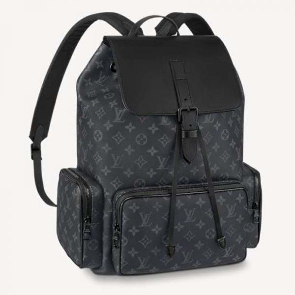 Louis Vuitton LV Unisex Backpack Trio Monogram Eclipse Coated Canvas-Black