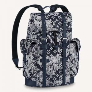 Louis Vuitton LV Unisex Christopher Backpack Monogram Tapestry Coated Canvas-Navy