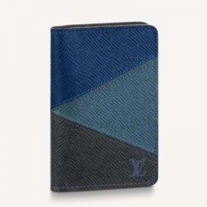 Louis Vuitton LV Unisex Pocket Organizer Gray Monochrome Taiga Leather-Navy