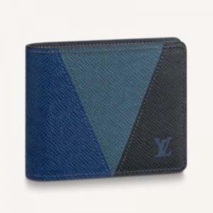 Louis Vuitton LV Unisex Slender Wallet Monochrome Taiga Leather-Navy
