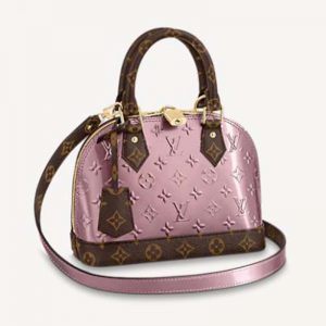 Louis Vuitton LV Women Alma BB Handbag Monogram Canvas Vernis Leather-Pink