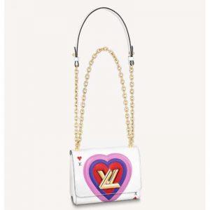 Louis Vuitton LV Women Game On Twist PM Chain Handbag White Epi Leather