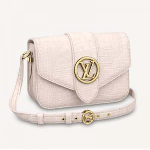 Louis Vuitton LV Women LV Pont 9 Shoulder Bag Crocodilian Alligator Leather-White